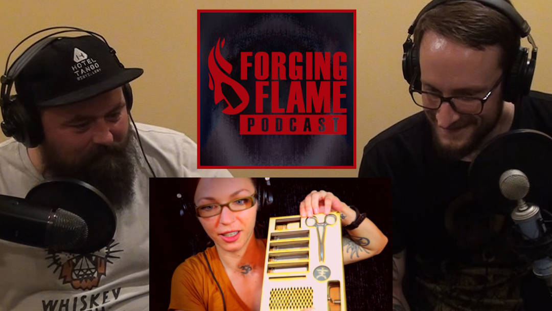 Image from Forging Flame Episode 5, with hosts Nick Hinton and Ryan Sellick, and guest Jessica Haeckel