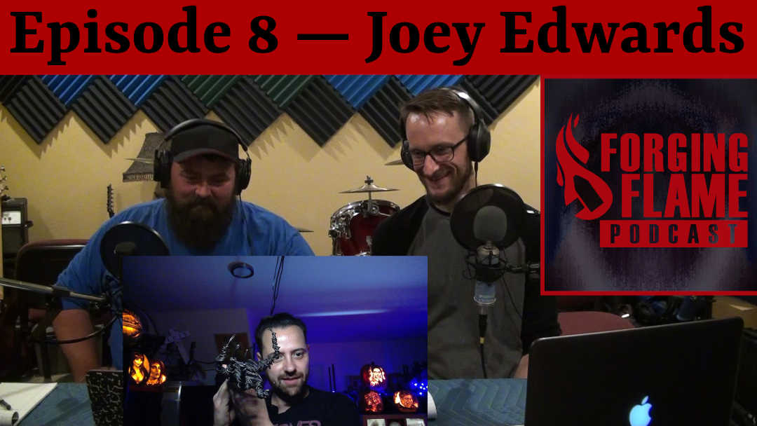 Image of Ryan Sellick and Nick Hinton podcasting dark-artist Joey Edwards on Forging Flame